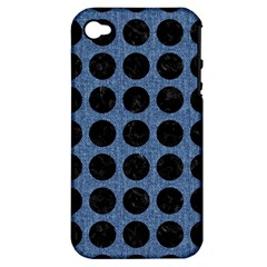 Circles1 Black Marble & Blue Denim (r) Apple Iphone 4/4s Hardshell Case (pc+silicone) by trendistuff