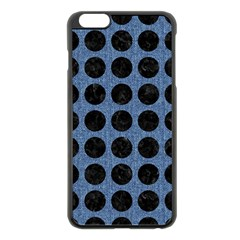 Circles1 Black Marble & Blue Denim (r) Apple Iphone 6 Plus/6s Plus Black Enamel Case