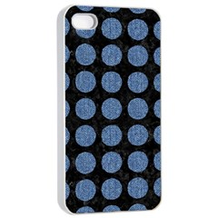Circles1 Black Marble & Blue Denim Apple Iphone 4/4s Seamless Case (white) by trendistuff