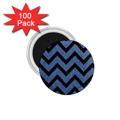Chevron9 Black Marble & Blue Denim (r) 1 75  Magnet (100 Pack)  by trendistuff