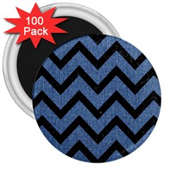 Chevron9 Black Marble & Blue Denim (r) 3  Magnet (100 Pack) by trendistuff