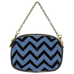 Chevron9 Black Marble & Blue Denim (r) Chain Purse (one Side) by trendistuff