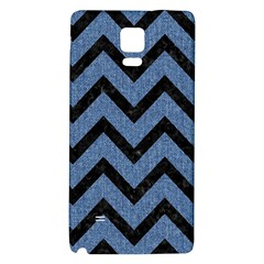 Chevron9 Black Marble & Blue Denim (r) Samsung Note 4 Hardshell Back Case by trendistuff
