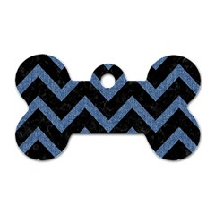 Chevron9 Black Marble & Blue Denim Dog Tag Bone (one Side)