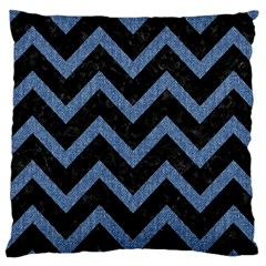 Chevron9 Black Marble & Blue Denim Large Cushion Case (two Sides) by trendistuff