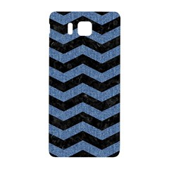Chevron3 Black Marble & Blue Denim Samsung Galaxy Alpha Hardshell Back Case by trendistuff