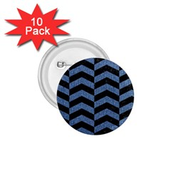 Chevron2 Black Marble & Blue Denim 1 75  Button (10 Pack)  by trendistuff