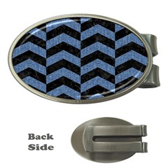 Chevron2 Black Marble & Blue Denim Money Clip (oval) by trendistuff