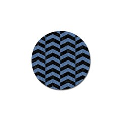 Chevron2 Black Marble & Blue Denim Golf Ball Marker (10 Pack) by trendistuff