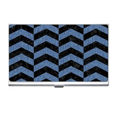 Chevron2 Black Marble & Blue Denim Business Card Holder by trendistuff