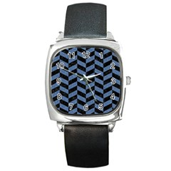 Chevron1 Black Marble & Blue Denim Square Metal Watch by trendistuff