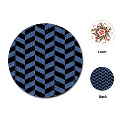 Chevron1 Black Marble & Blue Denim Playing Cards (round)