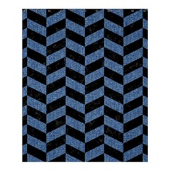 Chevron1 Black Marble & Blue Denim Shower Curtain 60  X 72  (medium)