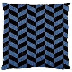 Chevron1 Black Marble & Blue Denim Large Cushion Case (two Sides) by trendistuff