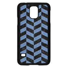Chevron1 Black Marble & Blue Denim Samsung Galaxy S5 Case (black) by trendistuff