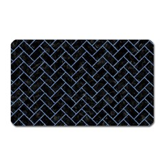 Brick2 Black Marble & Blue Denim Magnet (rectangular) by trendistuff