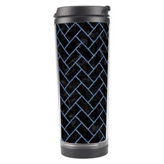 Brick2 Black Marble & Blue Denim Travel Tumbler by trendistuff