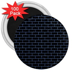 Brick1 Black Marble & Blue Denim 3  Magnet (100 Pack) by trendistuff