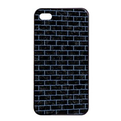 Brick1 Black Marble & Blue Denim Apple Iphone 4/4s Seamless Case (black) by trendistuff