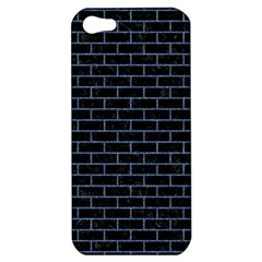 Brick1 Black Marble & Blue Denim Apple Iphone 5 Hardshell Case by trendistuff