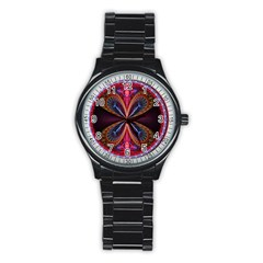 3d Abstract Ring Stainless Steel Round Watch by Simbadda