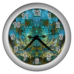 Blue Gold Modern Abstract Geometric Wall Clocks (silver)