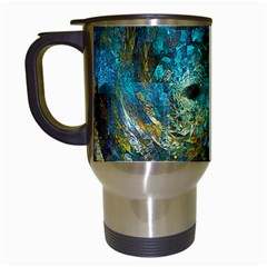 Blue Gold Modern Abstract Geometric Travel Mugs (white) by CrypticFragmentsColors