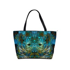 Blue Gold Modern Abstract Geometric Shoulder Handbags by CrypticFragmentsColors