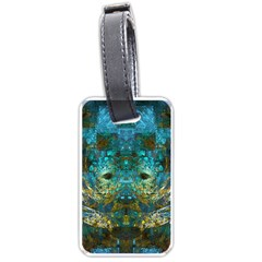 Blue Gold Modern Abstract Geometric Luggage Tags (one Side)  by CrypticFragmentsColors