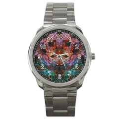 Modern Abstract Geometric Art Rainbow Colors Sport Metal Watch by CrypticFragmentsColors