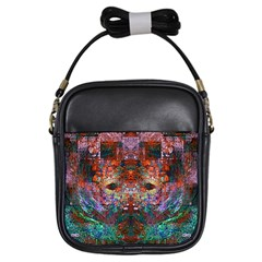 Modern Abstract Geometric Art Rainbow Colors Girls Sling Bags by CrypticFragmentsColors