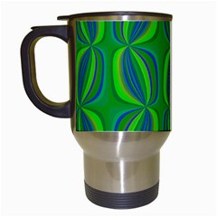 Blue Green Ethnic Print Pattern Travel Mugs (white) by CrypticFragmentsColors