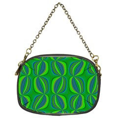 Blue Green Ethnic Print Pattern Chain Purses (one Side)  by CrypticFragmentsColors