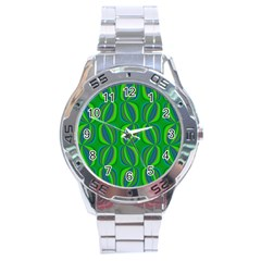 Blue Green Ethnic Print Pattern Stainless Steel Analogue Watch by CrypticFragmentsColors