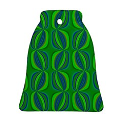 Blue Green Ethnic Print Pattern Bell Ornament (two Sides) by CrypticFragmentsColors