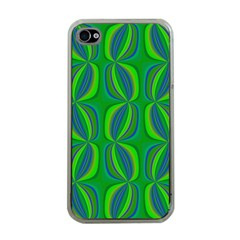 Blue Green Ethnic Print Pattern Apple Iphone 4 Case (clear) by CrypticFragmentsColors