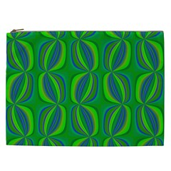 Blue Green Ethnic Print Pattern Cosmetic Bag (xxl)  by CrypticFragmentsColors