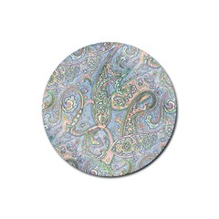 Paisley Boho Hippie Retro Fashion Print Pattern  Rubber Coaster (round)  by CrypticFragmentsColors