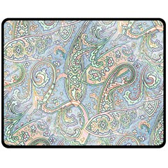 Paisley Boho Hippie Retro Fashion Print Pattern  Fleece Blanket (medium)  by CrypticFragmentsColors