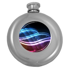 Illustrations Color Purple Blue Circle Space Round Hip Flask (5 Oz) by Alisyart