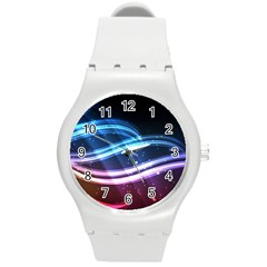 Illustrations Color Purple Blue Circle Space Round Plastic Sport Watch (m) by Alisyart
