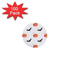 Halloween Seamless Pumpkin Bat Orange Black Sinister 1  Mini Buttons (100 Pack)