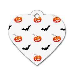 Halloween Seamless Pumpkin Bat Orange Black Sinister Dog Tag Heart (two Sides) by Alisyart