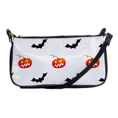 Halloween Seamless Pumpkin Bat Orange Black Sinister Shoulder Clutch Bags by Alisyart