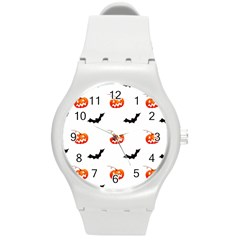 Halloween Seamless Pumpkin Bat Orange Black Sinister Round Plastic Sport Watch (m) by Alisyart
