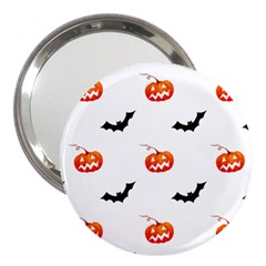 Halloween Seamless Pumpkin Bat Orange Black Sinister 3  Handbag Mirrors
