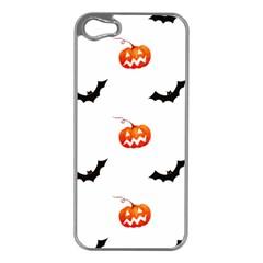Halloween Seamless Pumpkin Bat Orange Black Sinister Apple Iphone 5 Case (silver)