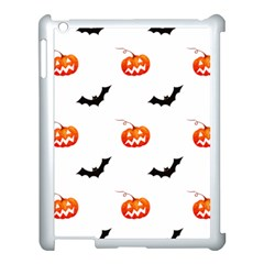 Halloween Seamless Pumpkin Bat Orange Black Sinister Apple Ipad 3/4 Case (white)