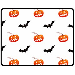 Halloween Seamless Pumpkin Bat Orange Black Sinister Double Sided Fleece Blanket (medium)