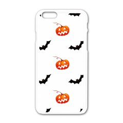 Halloween Seamless Pumpkin Bat Orange Black Sinister Apple Iphone 6/6s White Enamel Case by Alisyart